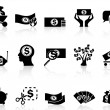 Black money icons set — Stock Vector #12600980