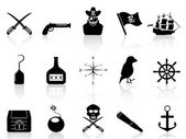 Black pirate icons set — Stock Vector