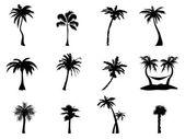 Silhouette d'arbre palmier — Vecteur