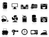 Black home devices icons set — Stock Vector
