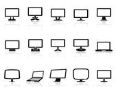 Computer monitor icons set — Vector de stock