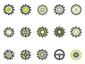 Gear and cog icons,green series — Stock Vector