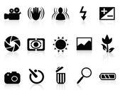 Kolekce dslr fotoaparát symbolu — Stock vektor