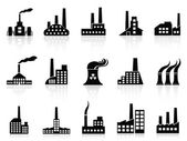 Black factory icons set — Vector de stock