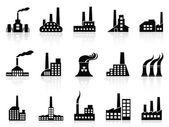 Conjunto de iconos fábrica negro — Vector de stock