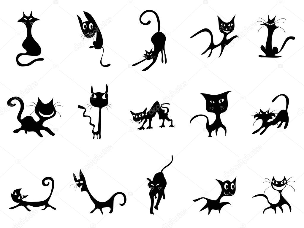 Cartoon Black cat silhouettes - Stock Illustration