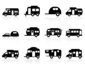 Caravan or camper van symbol — Stock Vector