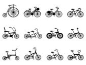 Bicycle silhouettes set — Stock Vector