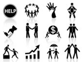 Business help icons — Stock Vector