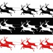 Stock Vector: Santa sleigh and reindeers