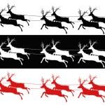 Santa sleigh and reindeers — Stock Vector