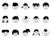Kids head icons — Stock Vector