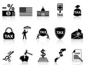 Black tax icons set — Stock Vector