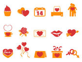 Simple color Valentines Day icons — Stock Vector