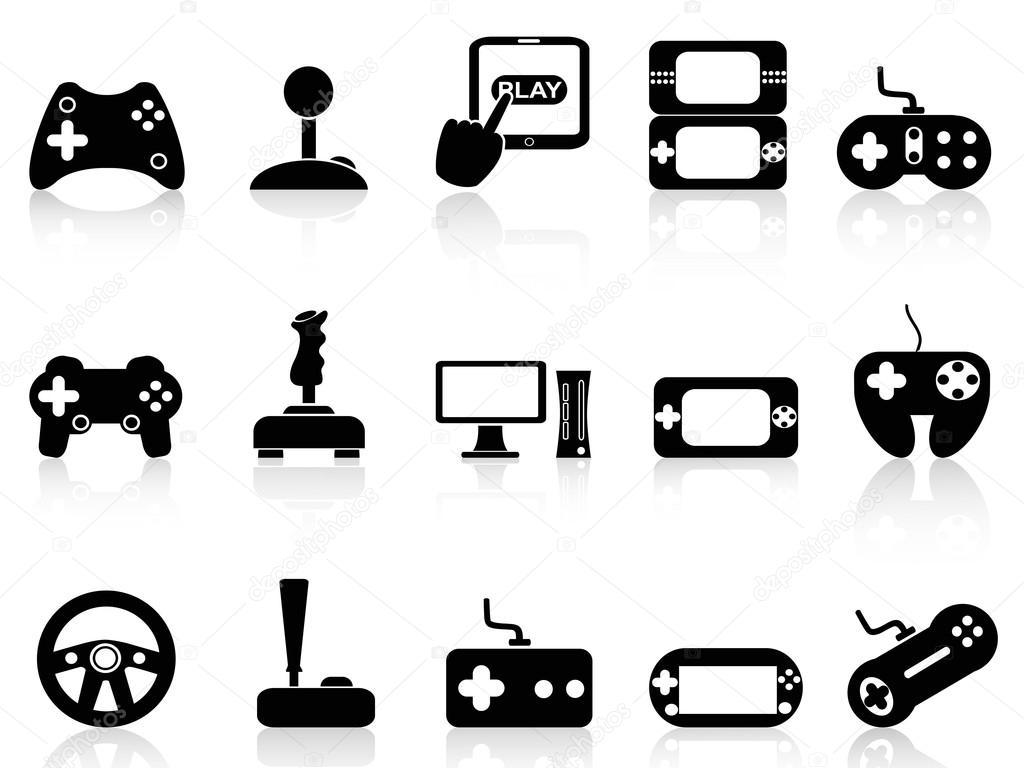 Video Game Controller Icon Isolated black video game and