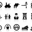 Stock Vector: Train station and service icons