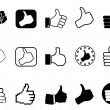 Black thumbs up icons set — Stock Vector