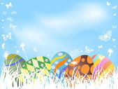 Color painted easter eggs background — 图库矢量图片