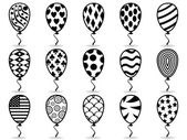 Black pattern balloon icons — Stock Vector