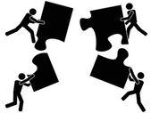 Teamwork with jigsaw — Stock Vector