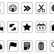 Black Toolbar and Interface icons buttons — Stock Vector
