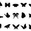 Royalty-Free Stock Imagem Vetorial: Butterflies silhouette collection