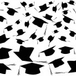 Stock Vector: Tossing graduation caps background