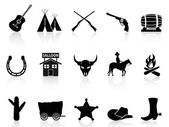 Wild West & Cowboys icons set — Stock Vector