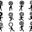 Human with gear head icons — Stock Vector #25231999