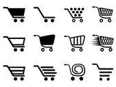 Eenvoudige winkelen kar icons set — Stockvector