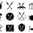 Eating utensils icons set — Stockvectorbeeld