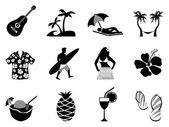 Tropical island and beach vacation icons set — Stock Vector