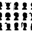 Children Profile Silhouettes — Stock Vector