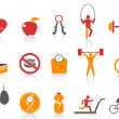 Simple fitness icons set,orange color series — Stock Vector