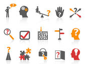 Business problem solving icons,orange color series — Stock Vector