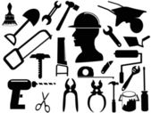 Hand tool silhouettes — Stock Vector