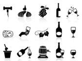 Grape wine icons set — Stock Vector