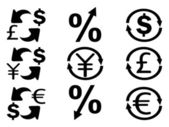 Currency Exchange icons set — Stock Vector