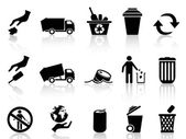 Black garbage icons set — Stock Vector