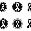 Stock Vector: Black awareness ribbons and Badges