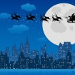 Stock Vector: Santa's sleigh over urban skyline