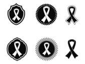 Black awareness ribbons and Badges — Stock Vector