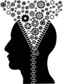 Unzipped human head with cogs — Stock Vector