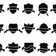Stock Vector: Black shield and ribbon icons set