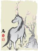 Kůň roku čínská malba — Stock vektor