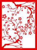 Red plum blossom-paper cut — Stock Vector