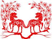 Dwa czerwone konia na chiński nowy rok — Wektor stockowy