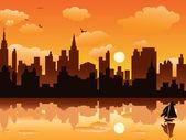 City in sunset — Vetorial Stock