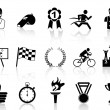 Black sport icons set — Vector de stock