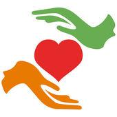 Hands hold heart — Stock Vector